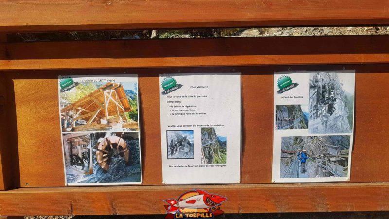 Un panneau indiquant les curiosités à visiter depuis la buvette de Brac au bisse de Savièse