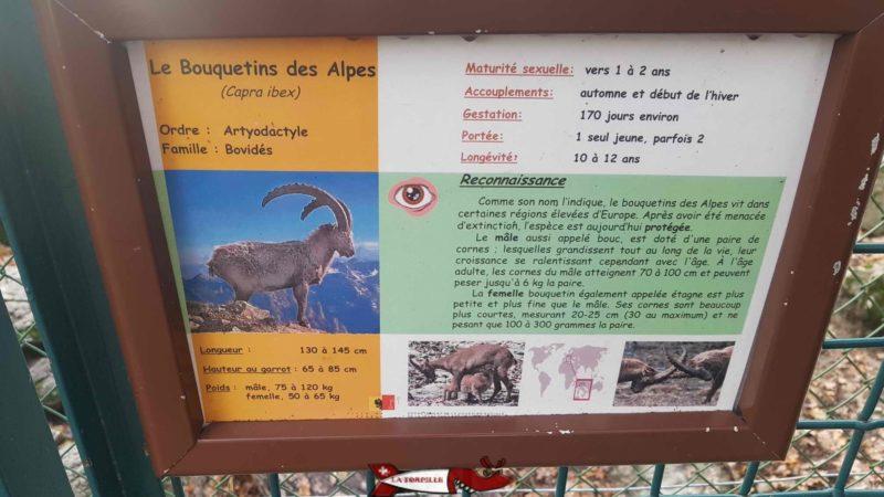 un panneau d'information au parc aux animaux du bois-de-la-bâtie
