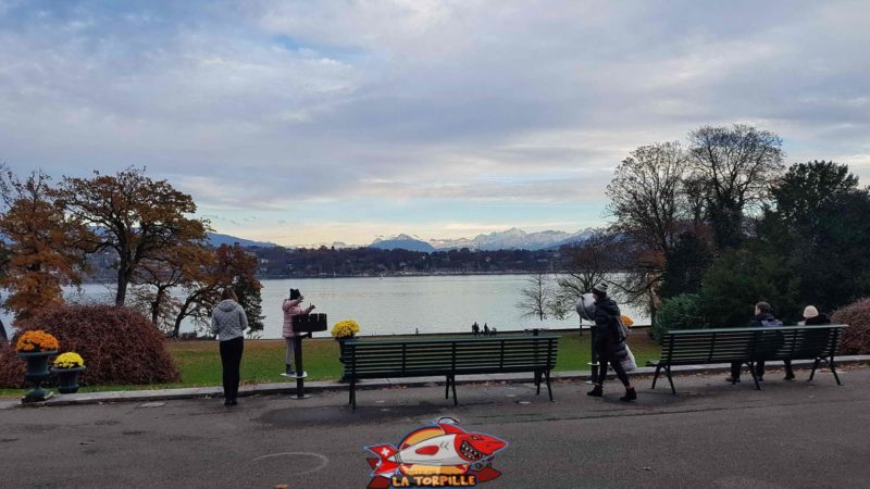The view from the history of sciences museum terrace overlooking the lake and the French Alps with Mont-Blanc.
