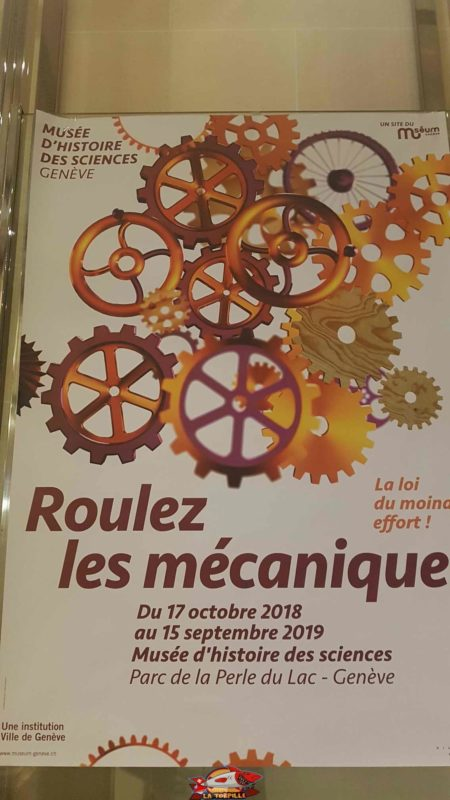 """The logo of the """"Roll the Mechanics"""" exhibition in 2018-2019 - history of sciences museum geneva"""