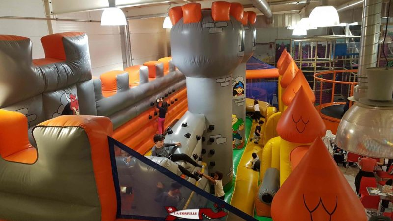 A large bouncy castle is available with climbing holds, ropes and ladders at jayland gland leisure center