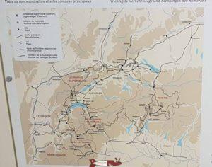 Une carte présentée au musée romain d'Avenches montrant les voies de communication et les sites principaux de l'empire romain en Suisse.