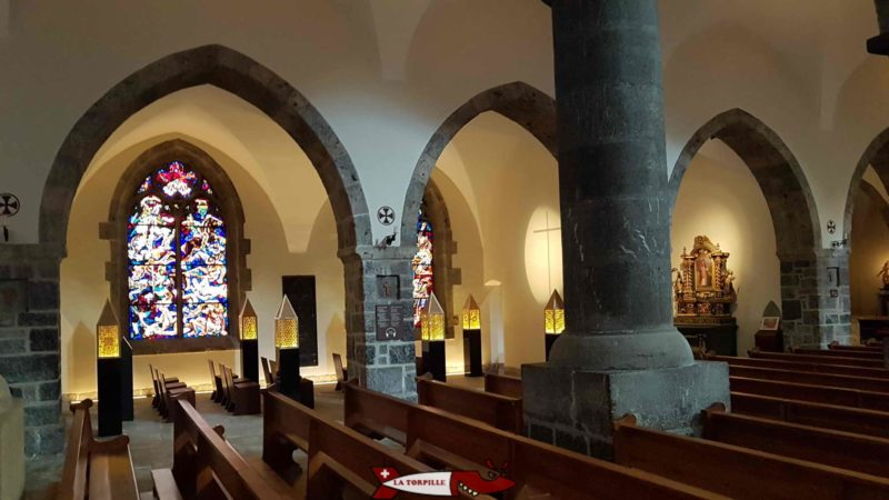 The interior of the basilica of the Abbey of Saint-Maurice