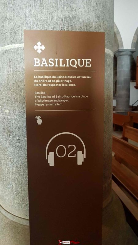 numbered station for receiving information from the audioguide at the abbey of Saint-Maurice