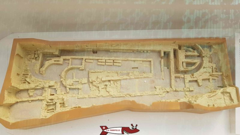 a model showing the vestiges of the different churches at the abbey of Saint-Maurice
