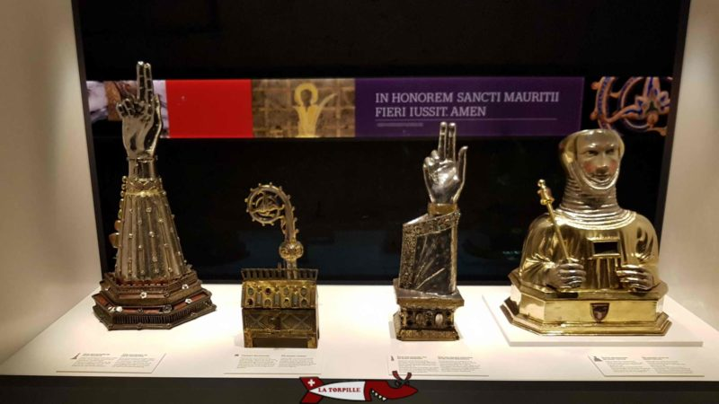Objects that make up the treasure of Saint-Maurice Abbey.