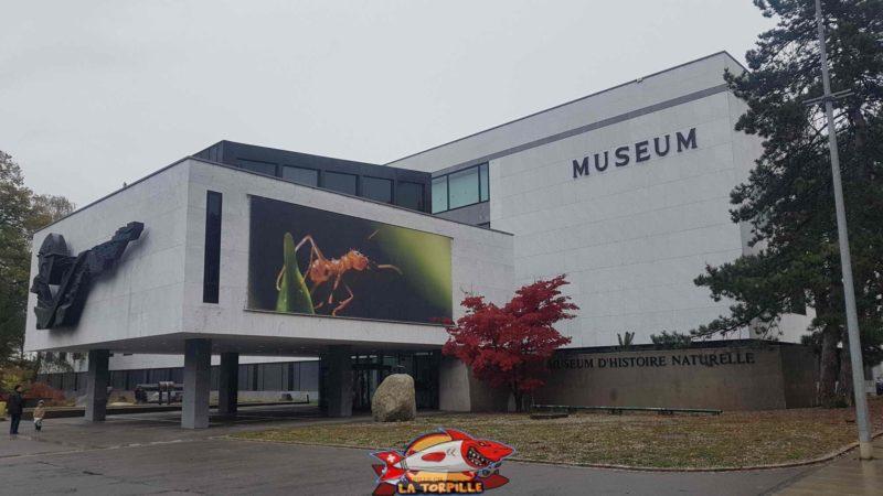 L'entrée du musée d'histoire naturelle de Genève.