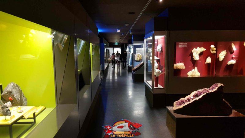 des mineraux exposés au muséum d'histoire naturelle de Genève