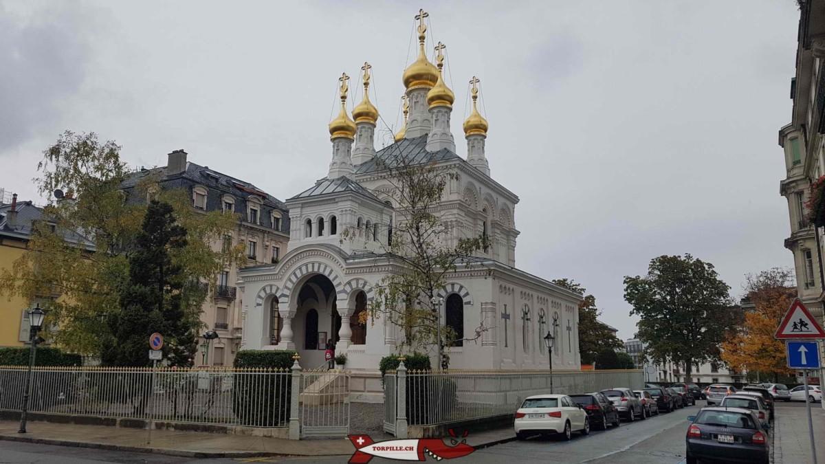 L'église orthodoxe russe de Genève appelée cathédrale de l'Exaltation de la Sainte Croix par les orthodoxes.