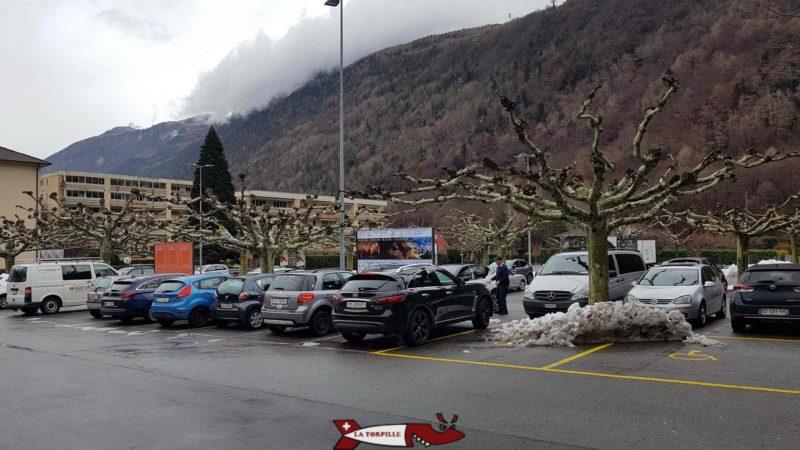 Parking lot of the Gianadda Foundation in Martigny