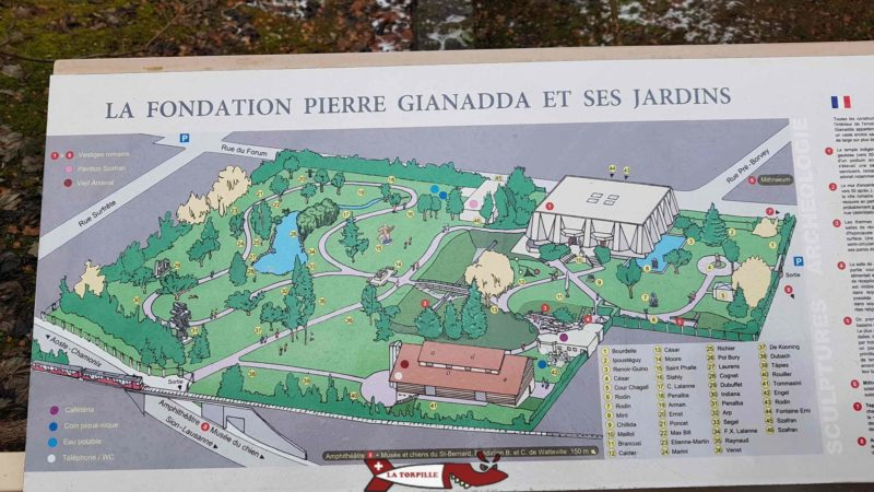 A map of the garden containing the sculpture park at the gianadda foundation in Martigny