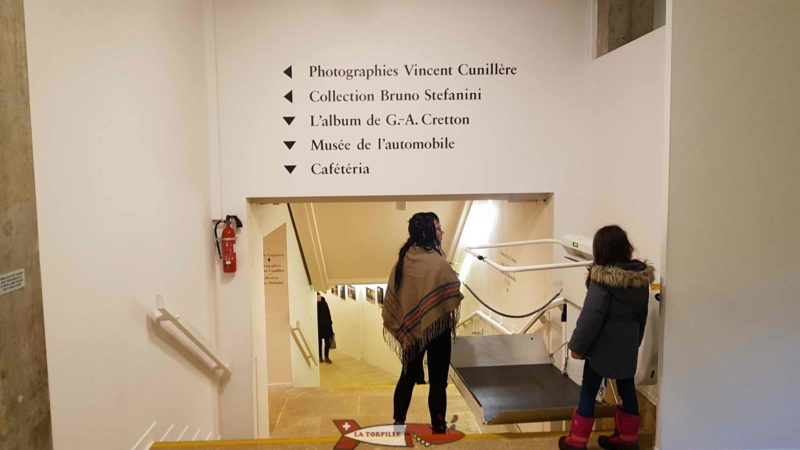 The corridor connecting the first and second basements of the Gianadda é Martigny Foundation