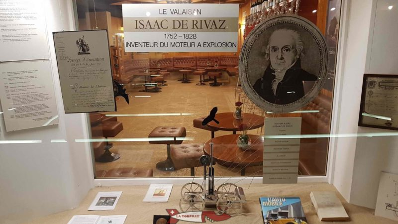 A showcase dedicated to Issac de Rivaz (1752-1828) one of the inventors of the Valaisan combustion engine. A showcase dedicated to Issac de Rivaz (1752-1828) born in Paris to a family from Valais. He is one of the inventors of the combustion engine.