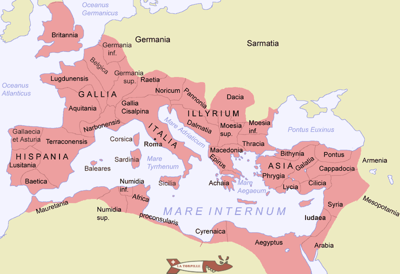 The segmentation into provinces of the Roman Empire over time of its maximum extension.