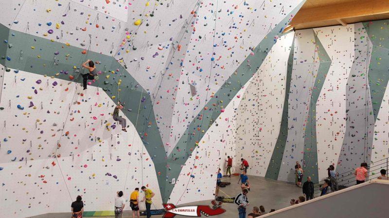 zone de grimpe en voie haute de la salle de grimpe C+ urban climbing
