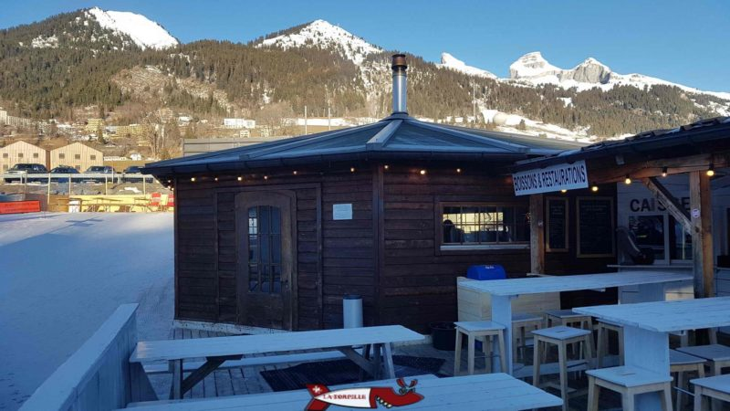 The outside tables and the yurt.