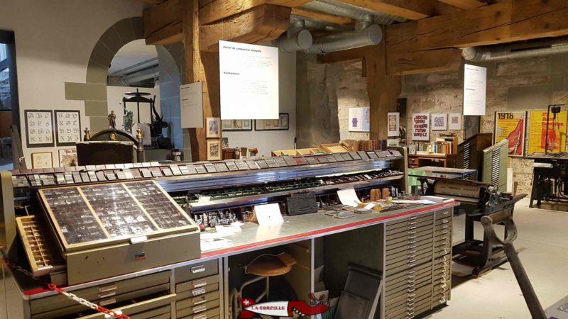 L'atelier au sous-sol du musée gutenberg à Fribourg