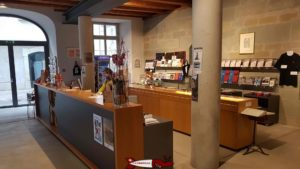 The reception and shop of the Gutenberg Museum in Friburg