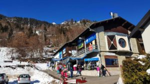 The departure station of the cable car to access the top of the winter sledge run of the marécottes