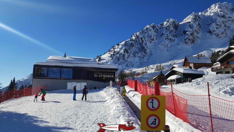 the restaurant of la creusaz at the beginning of the sledge run