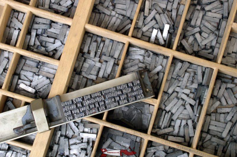 Les fameux caractères métalliques mobiles inventés par Gutenberg.