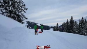first part of the winter sled run in Jaun