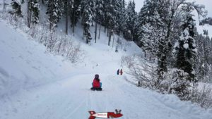 second part of the winter sled run in Jaun