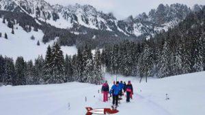 third part of the winter sled run in Jaun
