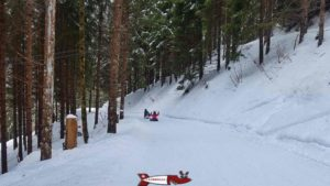fourth part of the winter sled run in Jaun