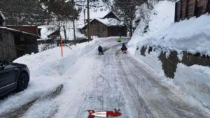 he road after the end of the winter run in Jaun that can be used under optimal conditions