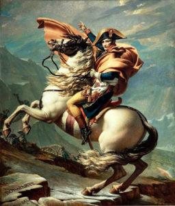 Une peinture bien connue de Napoléon franchissant le col du Grand-Saint-Bernard.