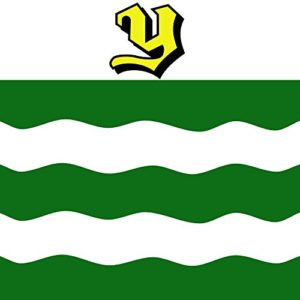 "The flag of the city of Yverdon. The ""Y"" letter symbolizes the first letter of Yverdon, the white and green colours refer to the original colours of the French revolutionaries and the wavy line refers to the lake."