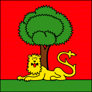 The flag of the city of Carouge. The lion refers to the title of royal city granted by Savoy to Carouge in 1786. The tree refers to the city protected by the king.
