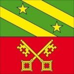 The flag of the town of Lancy. The upper part refers to the arms of the sirs of Lancy while the lower part with the keys of Saint-Pierre symbolizes the bishop of Geneva.