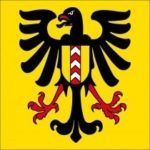 The flag of the city of Neuchâtel. The eagle refers to the Holy Roman Empire.