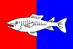 The flag of the city of Nyon. The fish, which does not represent a particular species, refers to the proximity of the lake.