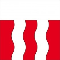 The flag of the city of Renens. The white stripes symbolize the two rivers that meander through the city of Renens.