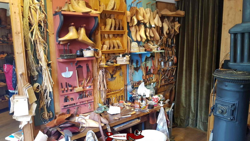 The workshop with the different tools used over the years at the shoe museum