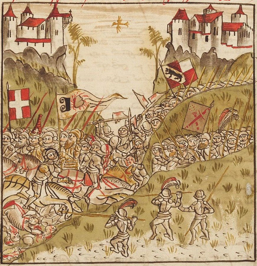 The Battle on the Planta. On the right, you can see the flags of Bern and Solothurn and on the left, the Savoy flag