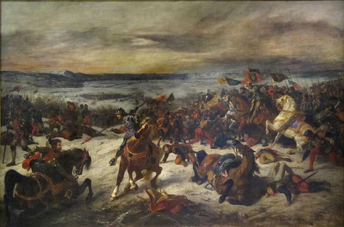 Une peinture d'Eugène Delacroix sur la bataille de Nancy.