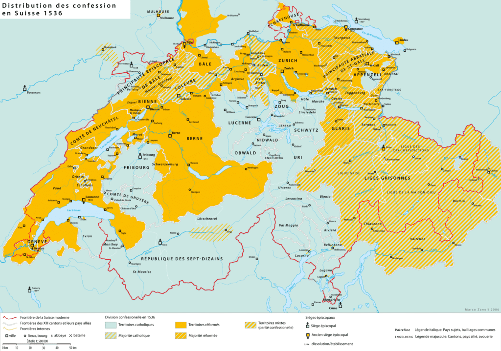 Very interesting map on the spread of the Reformation in Switzerland.