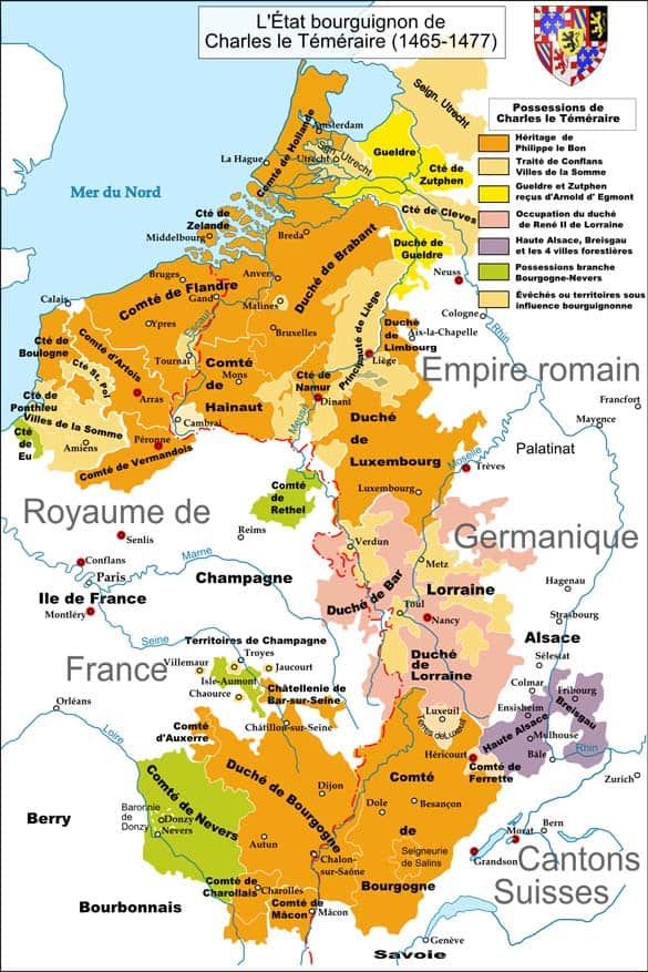 Map of Burgundian states at the time of the Burgundian Wars.