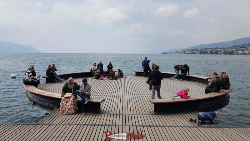 The pontoon over the water in Montreux