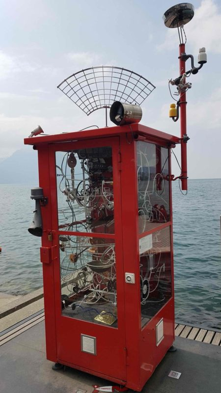 """The sculpture """"Hello Claude in a telephone booth in montreux"""