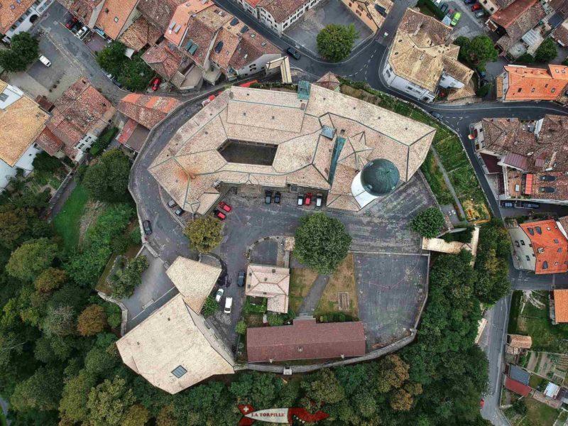 An aerial view of the aubonne castle