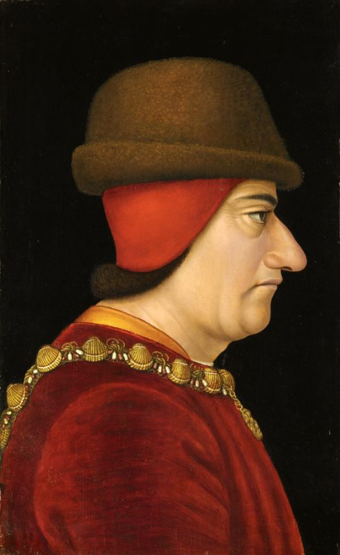 King Louis XI of France during the Burgundian wars, he was the cousin of Charles the Bold.
