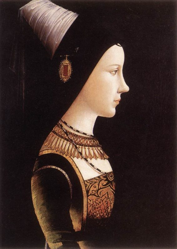 Mary of Burgundy painted by Michael Pacher in 1490, the duchess' godfather is none other than Louis XI