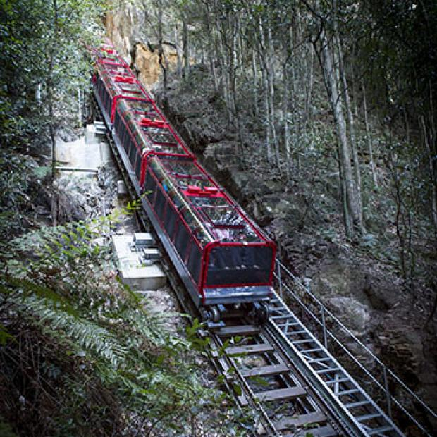 The dizzying slope of the Katoomba funicular.
