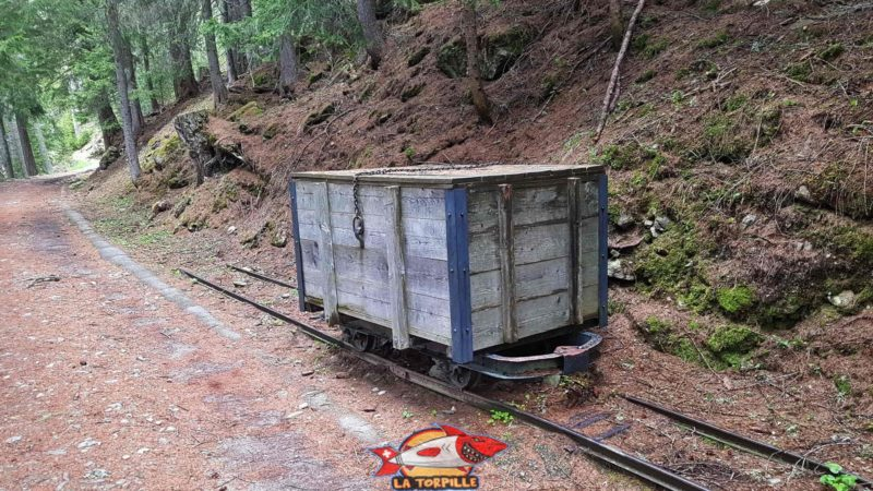 An old wagon on its rails, it was used to transport ice.