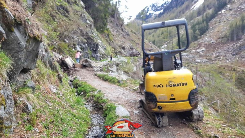 The final part of the course with a part subject to landslides and frequently maintained.
